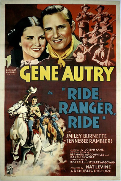 RIDE RANGER RIDE (1936) 17371 Original Republic Pictures One Sheet Poster (27x41). Linen-backed.  Used.  Good Condition