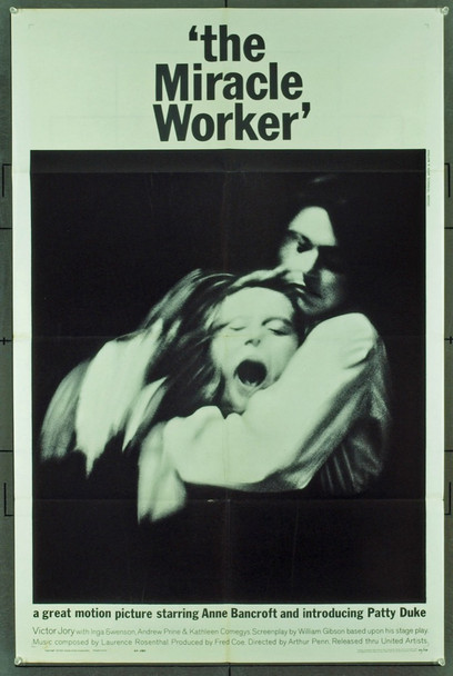 MIRACLE WORKER, THE (1962) 17764 Original United Artists One Sheet Poster (27x41).  Folded.  Very fine PLUS condition.