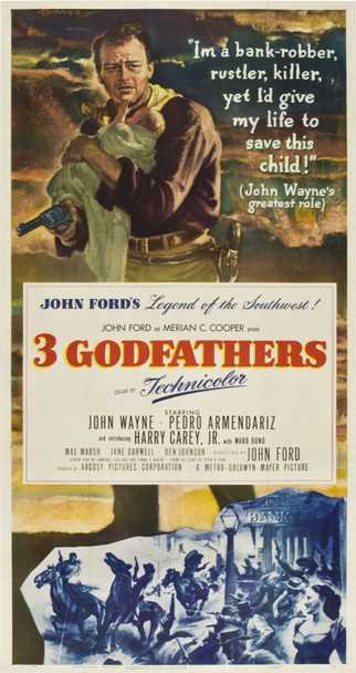 3 GODFATHERS (1948) 19363 Original MGM Three Sheet Poster (41x81).  Beautiful artwork by Tomaso.  Linen-backed.  Very fine condition.