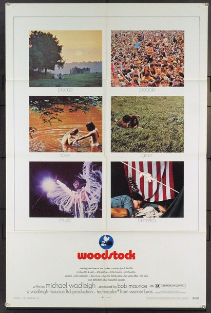 WOODSTOCK (1970) 19378 Original Warner Brothers One Sheet Poster (27x41). Folded. Very Fine Plus.