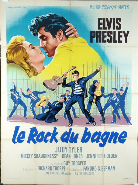 JAILHOUSE ROCK (1957) 19411 JAILHOUSE ROCK Original French One Panel Poster (47x63).  Folded   Near Mint!  Art by Roger Soubie