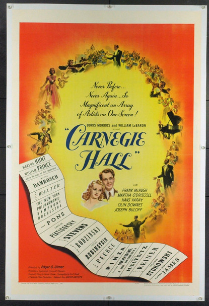 CARNEGIE HALL (1947) 19481 Original United Artists One Sheet Poster (27x41).  Linen-Backed.  Very Fine To Very Fine Plus Condition.
