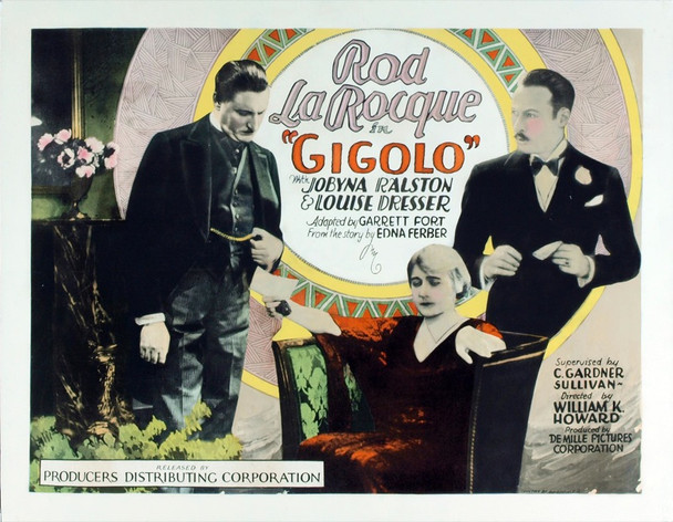 GIGOLO (1926) 19727 Original Producers Distributing Half Sheet Poster (22x28). Stone lithograph. Paper-Backed. Fine Plus Condition.