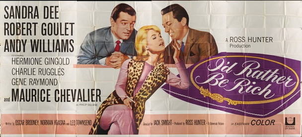 I'D RATHER BE RICH (1964) 20119 Original Universal Pictures Twenty Four Sheet Poster (9 ft x 20 ft).  Folded.  Very Fine Condition.