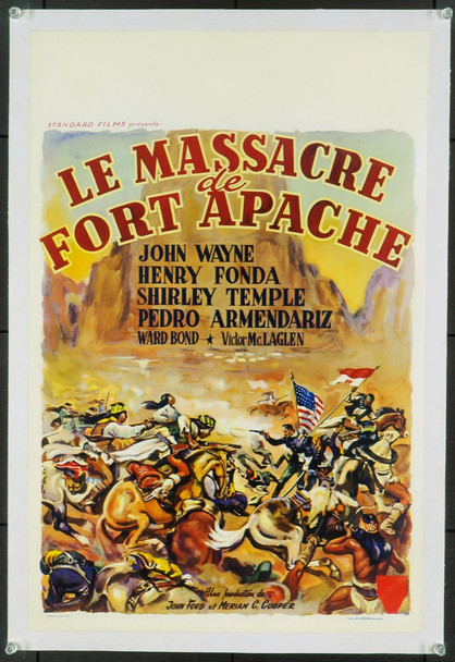 FORT APACHE (1948) 20358 Original Belgian Poster (14x22). Linen-Backed. Very Fine Plus.