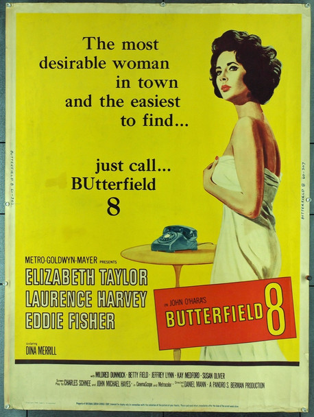 BUTTERFIELD 8 (1960) 20441 Original MGM 30x40 Poster.  Rare.   Never folded.   Fine Condition.