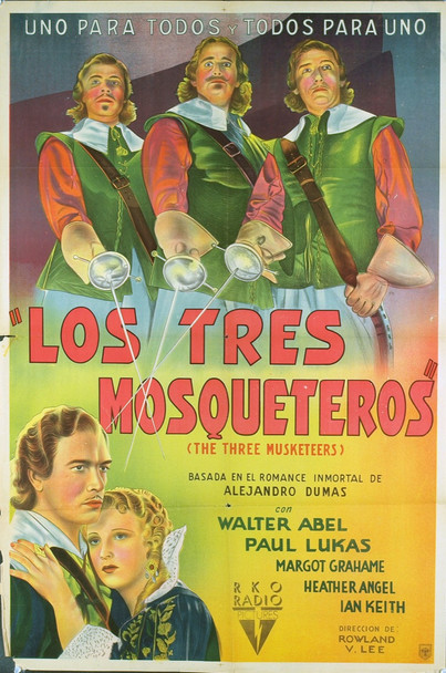 THREE MUSKETEERS, THE (1935) 20464 Original Argentinean Poster (29x43). Folded. Fine Plus Condition.