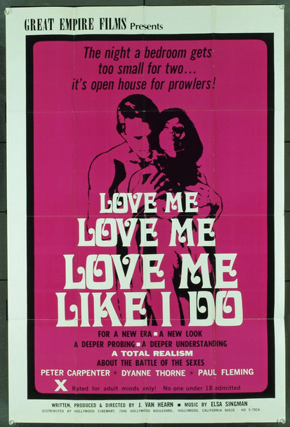 LOVE ME LIKE I DO (1970) 20533 Original Great Empire Films One Sheet Poster (27x41). Folded. Very Fine Condition.
