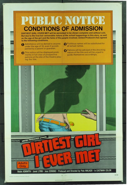 COOL IT CAROL (1970) 20544 Original United Producers One Sheet Poster (27x41).  Folded.  Very fine condition.