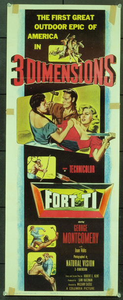 FORT TI (1953) 20570 Original Columbia Pictures 3-D Insert Poster (14x36). Folded. Very Good Condition.