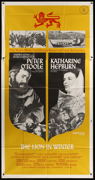 LION IN WINTER, THE (1969) 20581 Original Embassy Pictures Three Sheet Poster (41x81).  Folded.  Very Fine Condition.