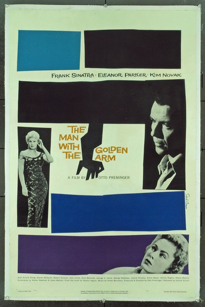 MAN WITH THE GOLDEN ARM, THE (1955) 20585 THE MAN WITH THE GOLDEN ARM Original United Artists One Sheet Poster (27x41). Linen-backed. Very fine condition.