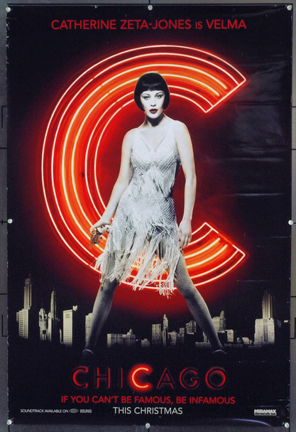 CHICAGO (2002) 20735 Original Miramax Films Style B Advance One Sheet Poster of Catharine Zeta-Jones (27x41). Double-Sided. Rolled. Very Fine.