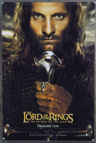 LOTR: THE RETURN OF THE KING (2003) 20746 Original New Line Cinema Style C Advance One Sheet Poster of Viggo Mortensen (27x40). Double-Sided. Rolled. Very Fine.