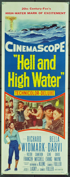 HELL AND HIGH WATER (1954) 20760 Original 20th Century-Fox Insert Poster (14x36). Folded. Very Fine.