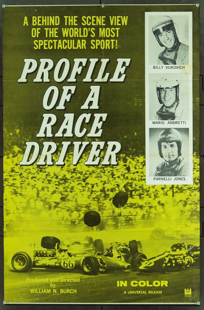 PROFILE OF A RACE DRIVER (1960) 20879 Original Universal Pictures One Sheet Poster (27x41).  Folded.  Fine Plus Condition.