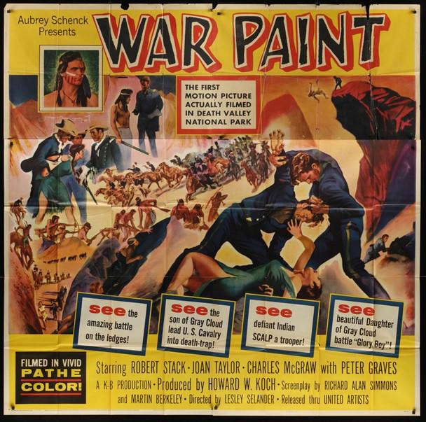 WAR PAINT (1953) 20925 Original United Artists Six Sheet Poster (81x81). Good Condition.