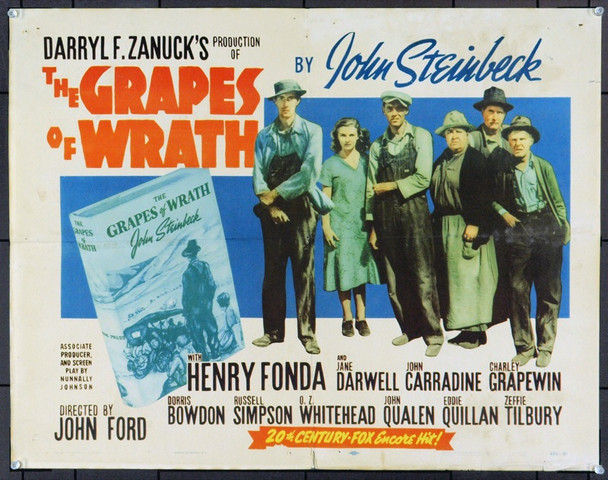 GRAPES OF WRATH, THE (1940) 21023 Original 20th Century-Fox Half Sheet Poster (22x28). Re-Release of 1956. Folded. Fine Plus Condition.
