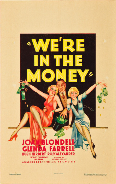WE'RE IN THE MONEY (1935) 21221 Original Warner Brothers Window Card (14x22).  Very Fine Plus Condition.