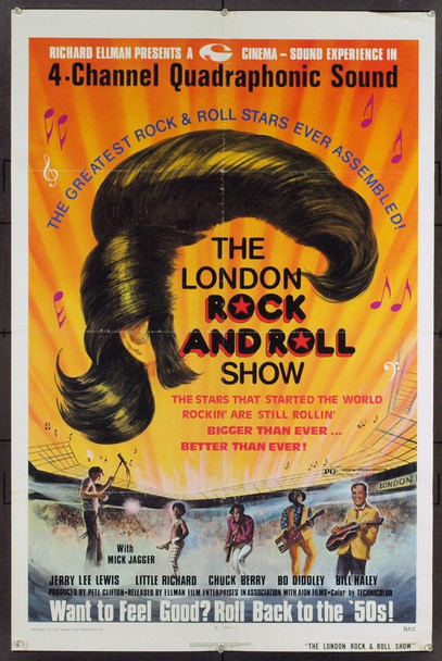LONDON ROCK AND ROLL SHOW, THE (1973) 21312 Original Ellman Film Enterprises One Sheet Poster (27x41).  Folded.  Fine Condition.