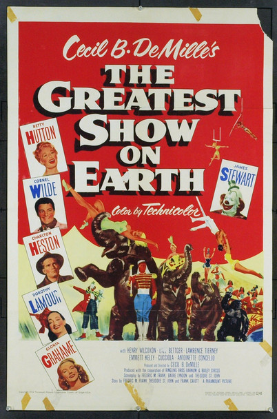 GREATEST SHOW ON EARTH, THE (1952) 21354 U.S. One Sheet Poster. 27x41. Very Good Plus. Folded.