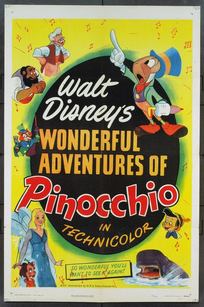 PINOCCHIO (1940) 21355 Original Walt Disney Productions 1945 Re-Release One Sheet Poster (27x41).  Folded.  Very Fine Plus.