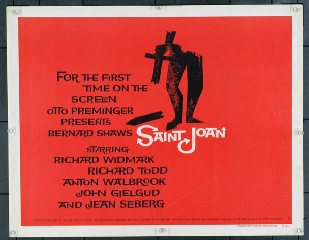SAINT JOAN (1957) 22032 United Artists Original Half Sheet Poster (22x28).  Unfolded.  Fine Condition.