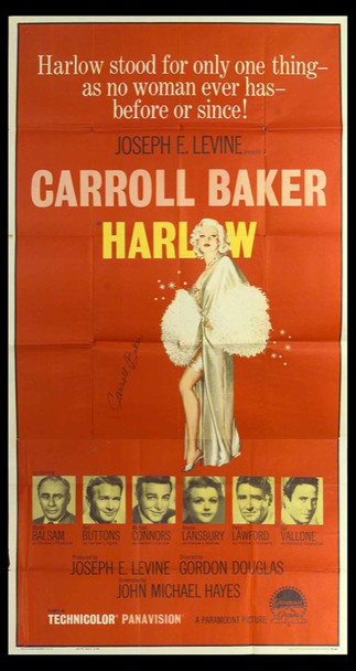 HARLOW (1965) 12772 U.S. Three Sheet Poster (41x81) Signed by Carroll Baker.
