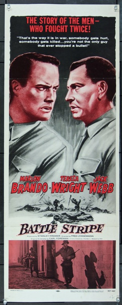 MEN, THE (1950) 12782 Original National Telefilm Associates 1957 Re-Release Insert Poster (14x36).  Folded.  Fine.