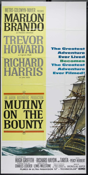 MUTINY ON THE BOUNTY (1962) 12804 Original MGM Three Sheet Poster (41x81).  Folded.  Very Fine.