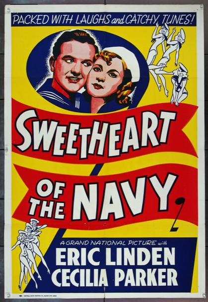 SWEETHEART OF THE NAVY (1937) 13157 Original Mason City, Iowa Printed One Sheet Poster (27x41).  Folded.  Fine Plus.