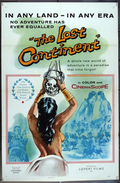 LOST CONTINENT (1955) 2918 Original Lopert Pictures 1957 Re-Release One Sheet Poster (27x41).  Folded.  Very Fine.