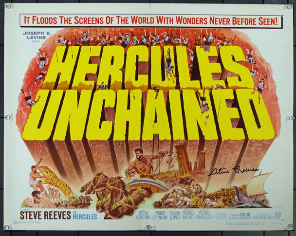 HERCULES UNCHAINED (1959) 12807 Original Warner Brothers Half Sheet Poster (22x28).  Signed by Steve Reeves.  Originally folded.  Fine Plus.