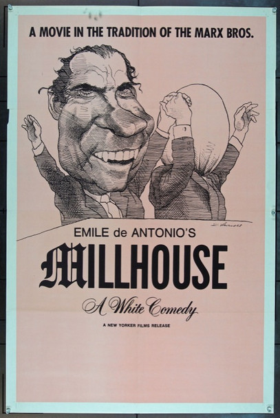 MILLHOUSE (1971) 13828 Original New Yorker Films One Sheet Poster (27x41).  David Levine Caricature.  Folded.  Very Fine.