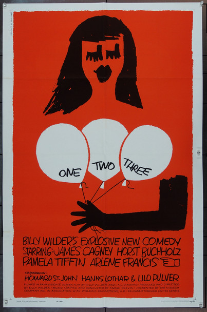 ONE,TWO,THREE (1961) 13829 Original United Artists One Sheet Poster (27x41).  Saul Bass Artwork.  Folded.  Fine Plus.