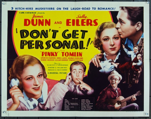 DON'T GET PERSONAL (1936) 13851 Original Universal Pictures Half Sheet Poster (22x28).  Folded.  Very Good.