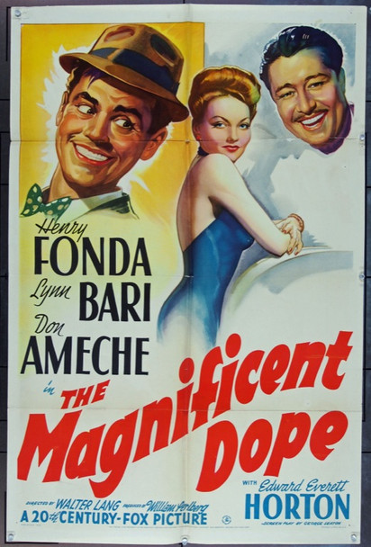 MAGNIFICENT DOPE, THE (1942) 13937 Original 20th Century-Fox One Sheet Poster (27x41).  Folded.  Very Good Condition.
