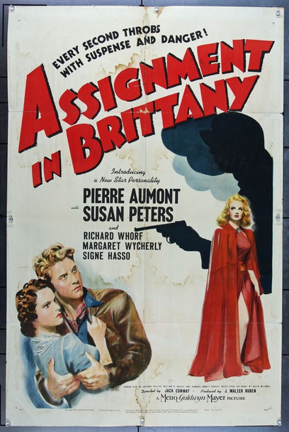 ASSIGNMENT IN BRITANNY (1943) 9353 Original MGM One Sheet Poster (27x41).  Folded.  Good Condition.