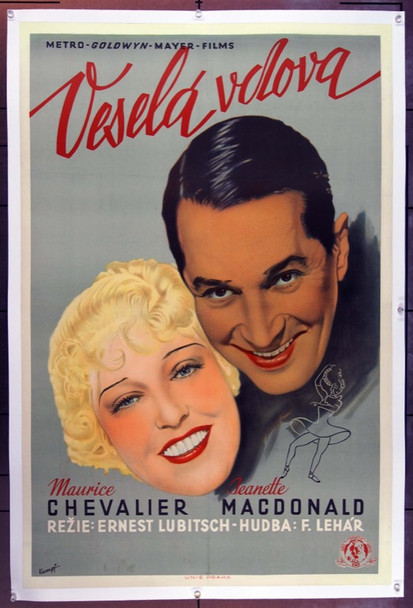 MERRY WIDOW, THE (1934) 13936 Original Czech Poster.  24X36. Fine Plus.  Slightly trimmed.
