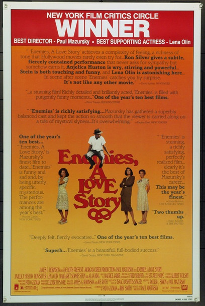 ENEMIES, A LOVE STORY (1989) 3922 Original 20th Century-Fox Review Sheet One Sheet Poster (27x41).  Unfolded.  Very Fine.