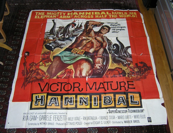 HANNIBAL (1960) 14484 Original Warner Brothers Six Sheet Poster (81x81).  Folded.  Very Good Plus.