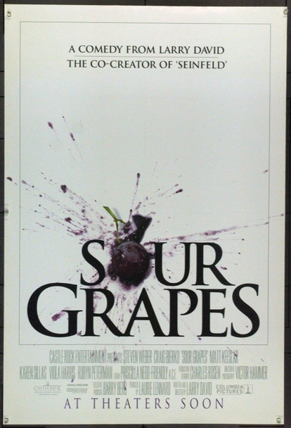 SOUR GRAPES (1998) 22023 Original Columbia Pictures One Sheet (27x41).  Rolled.  Double-Sided.  Very Fine Plus.