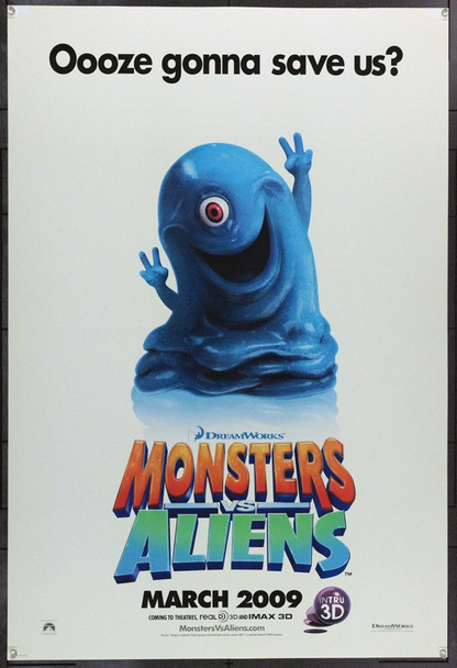 MONSTERS VS ALIENS (2009) 22155 Original Dreamworks Animation Advance One Sheet Poster (27x41).  Double-Sided.  Rolled.  Very Fine.