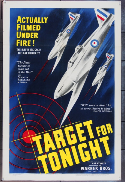 TARGET FOR TONIGHT (1941) 13833 Original Warner Brothers One Sheet Poster (27x41).  Folded.  Very Fine Condition
