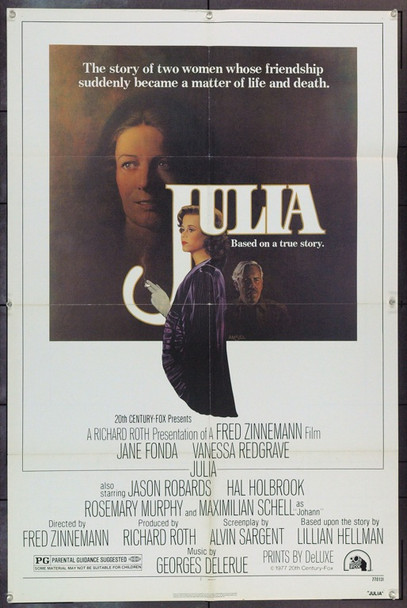 JULIA (1977) 1111 JULIA Original 20<sup>th</sup>Century-Fox One Sheet Poster (27x41). Richard Amsel Artwork. Folded. Very Fine.