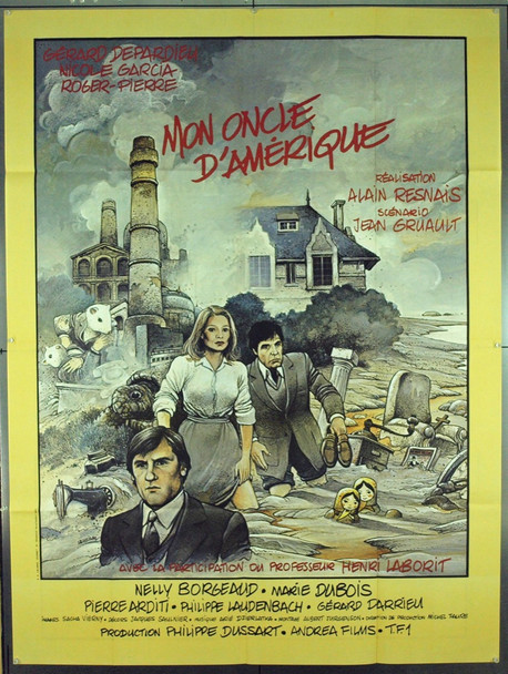 MON ONCLE D'AMERIQUE (1980) 1754 Original Andrea Films French Poster (47x63).  Enki Bilal Artwork.  Folded.  Very Fine Plus.