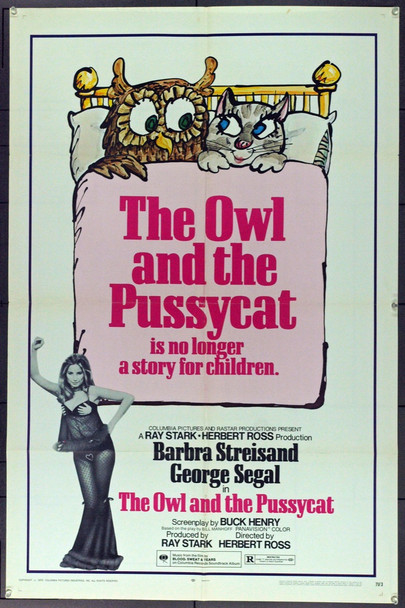 OWL AND THE PUSSYCAT, THE (1971) 1806 Original Columbia Pictures One Sheet Poster (27x41). Folded. Fine Plus.