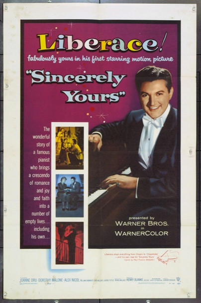 SINCERELY YOURS (1955) 1988 Original Warner Brothers One Sheet Poster (27x41). Fine Plus.