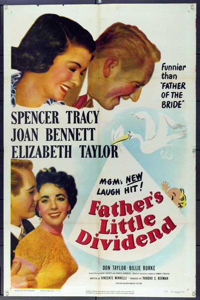 FATHER'S LITTLE DIVIDEND (1951) 2162 Original MGM One Sheet Poster (27x41). Folded. Very Fine Plus.