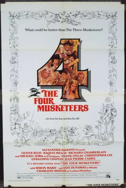 FOUR MUSKETEERS, THE (1975) 2277 Original 20th Century-Fox One Sheet Poster (27x41). Folded. Very Fine Condition.